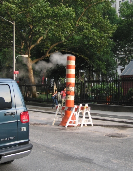 giant road cone in New York