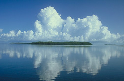 clouds over island