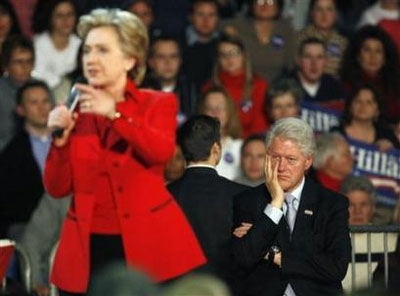 Bill Clinton frustrated while Hillary speaks