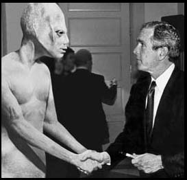 alien with President Bush