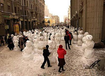 Is this a snowmen parade, or are they about to take over the world?