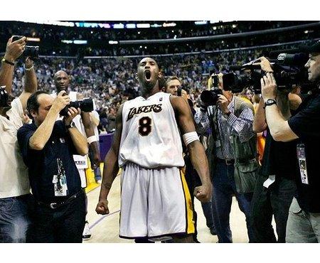 Kobe Bryant yelling around reporters