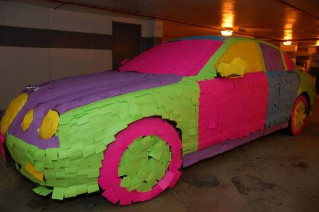 car covered in Post-It notes, 1