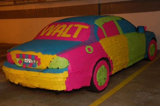 car covered in Post-It notes, 3