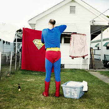 Superman wannabe hanging laundry