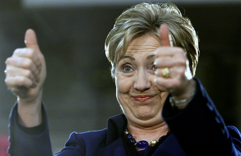 Hillary Clinton with two thumbs up