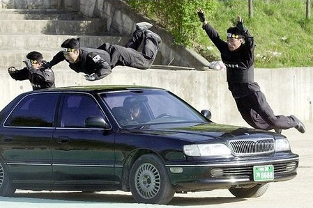ninjas attacking car