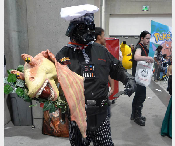 costume - Chef Vader serving Jar Jar Binks