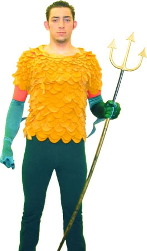 guy in Aquaman costume, with feathers