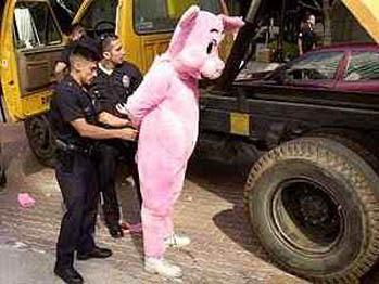 man in pig costume being arrested