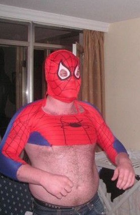 Spiderman costume, but something's wrong