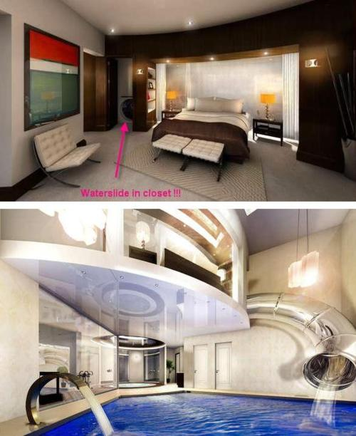 Slide from bedroom to swimming pool buffet o 39 blog for Cool rooms to have in your house