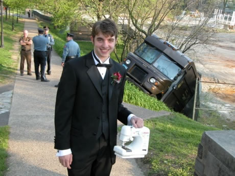 Here Ya Go Kurt Wrecked-ups-truck-guy-in-tux-with-sewing-machine