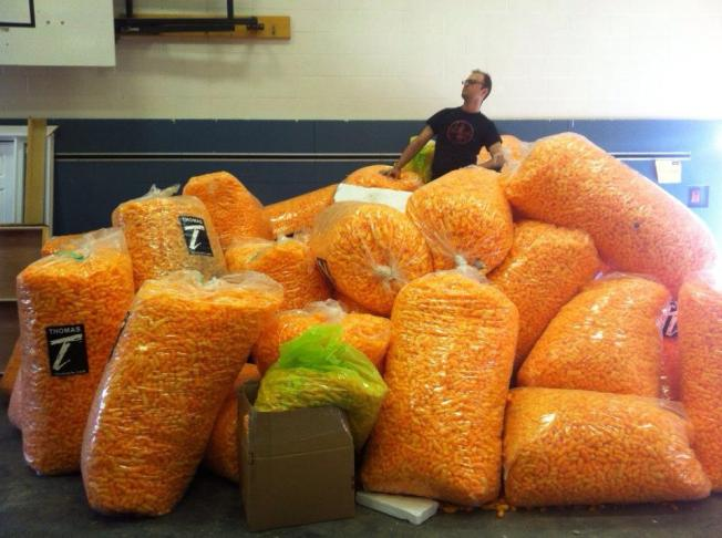 Cheetos - many industrial sized bags, $65 per bag supposedly